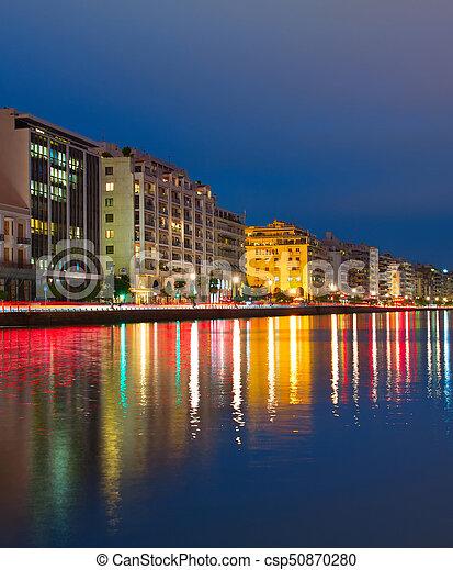 Thessaloniki quayside at twilight, Greece - csp50870280
