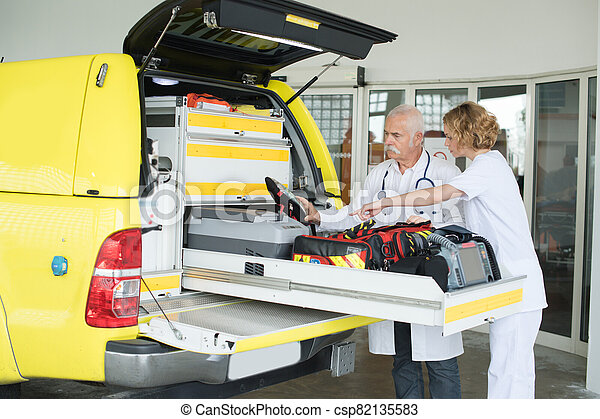 they are preparing the medical vehicle - csp82135583