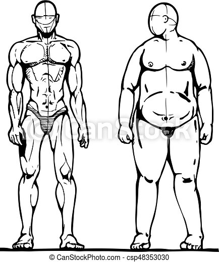 Thick And Thin Man Sporting And Fat Man Vector Illustration In Ink