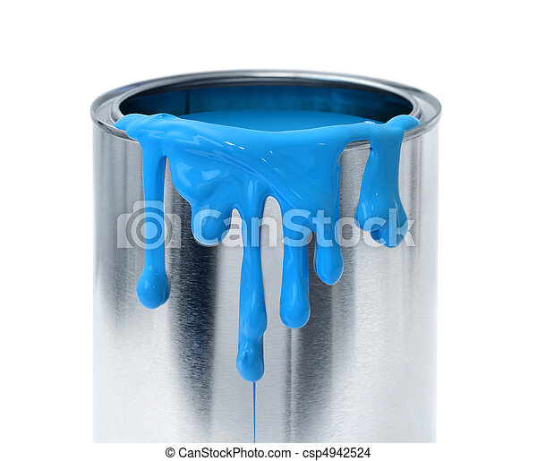 Thick blue paint dripping tin can container on white background - csp4942524