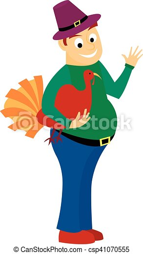Thick happy man holds in one hand turkey is a holiday Thanksgiving. isolated on white background - csp41070555