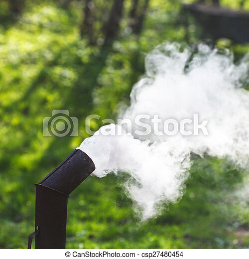 thick smoke from pipe of samovar - csp27480454