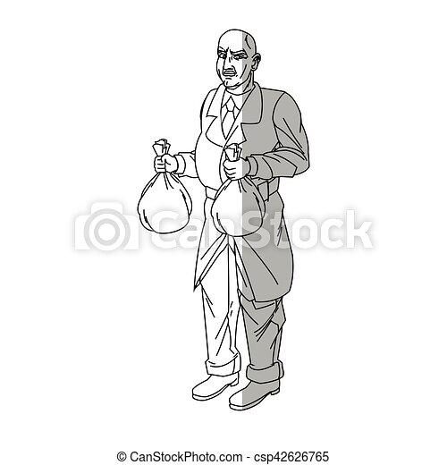 Thief cartoon with money bag design - csp42626765