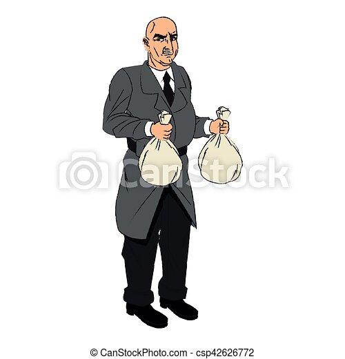 Thief cartoon with money bag design - csp42626772