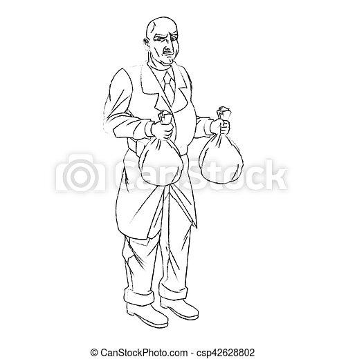 Thief cartoon with money bag design - csp42628802