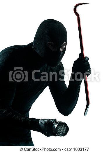 thief criminal burglar portrait masked - csp11003177