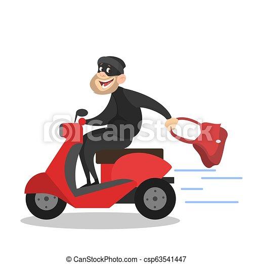 Thief or burglar stealing a woman bag - csp63541447