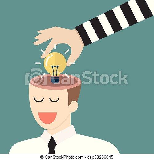 Thief Stealing Lightbulb Idea From A Head