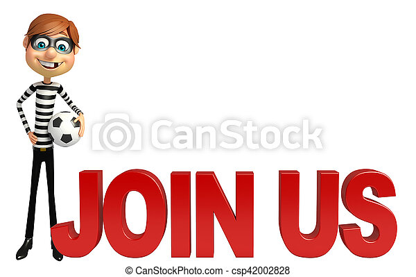 Thief with Football & Join us sign - csp42002828