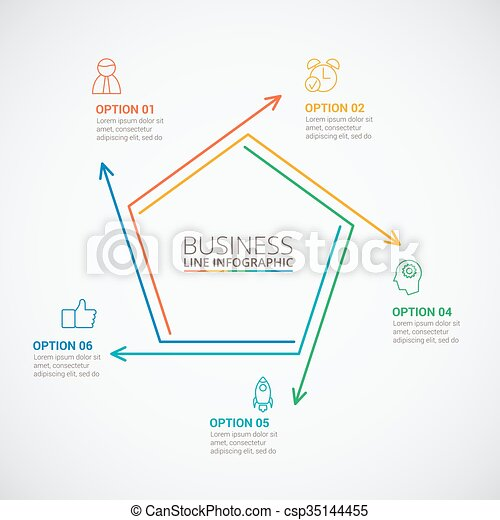 thin line flat pentagon for infographic template for cycle diagram