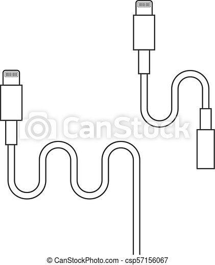 Thin Line Lightning Connector With Adapter Concept Of Analog