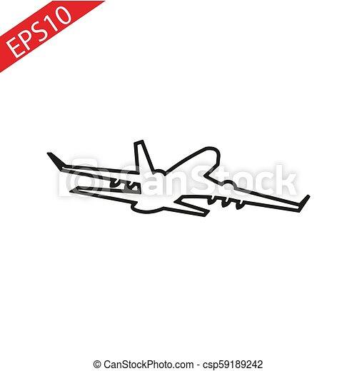 thin line plane icon on white background - csp59189242