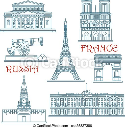 Thin line Russia and France landmarks - csp35837386