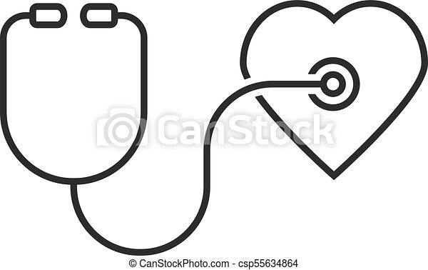 Thin Line Stethoscope Heart Concept Of Emergency First Aid Hear