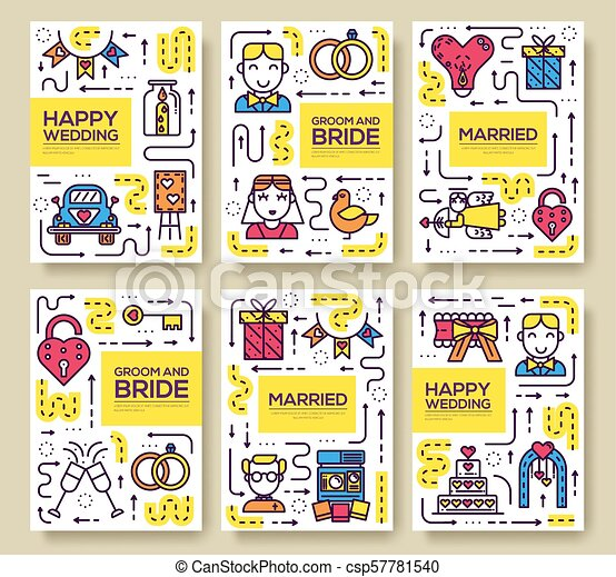 Thin Line Wedding Day Vector Brochure Cards Set Marriage Sign Template Of Flyear Magazines Poster Book Cover Banners Outline Happy Time