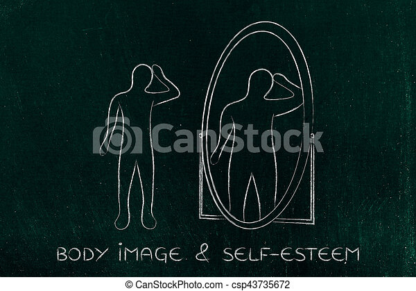 thin person looking in the mirror and seeing himself as overweight - csp43735672