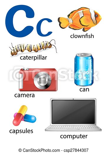 things that start with the letter c on a white background