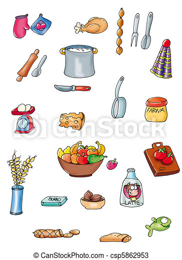 Things to cook, cooking utensils, food.