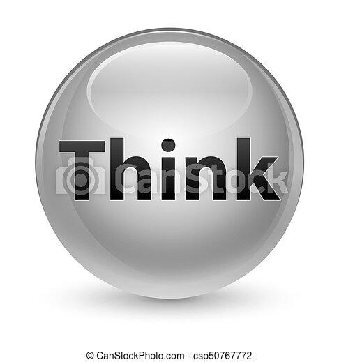 Think glassy white round button - csp50767772