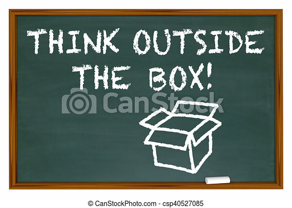 Think Outside the Box Chalk Board Words 3d Illustration - csp40527085