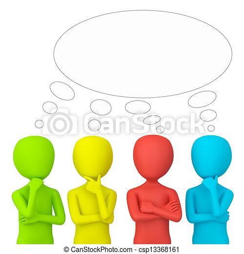 think., pessoas, -, 3d, pequeno - csp13368161