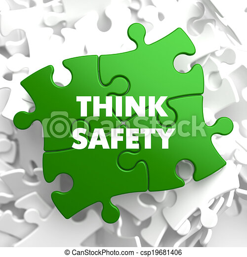 Think Safety on Green Puzzle. - csp19681406
