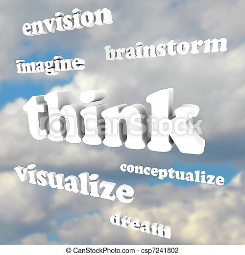 Think Words in Sky - Imagine New Ideas and Dreams - csp7241802