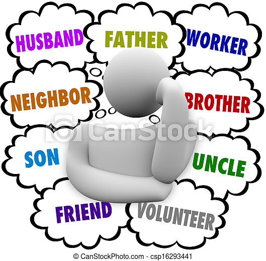Thinker Thought Clouds Many Roles Husband Father Worker - csp16293441