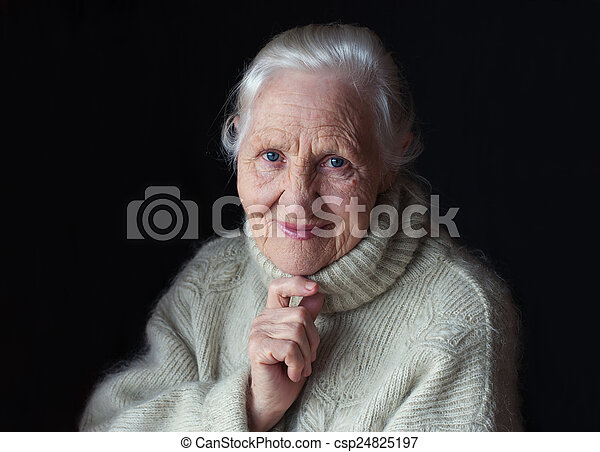 Thinking elderly woman - csp24825197