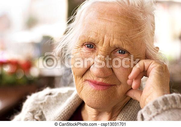 Thinking elderly woman - csp13031701