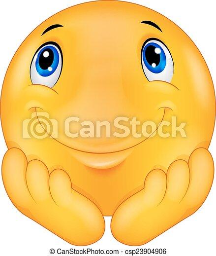 Thinking emoticon smiley - csp23904906