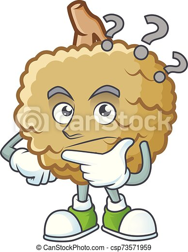 Thinking fresh marolo fruit character mascot in cartoon - csp73571959