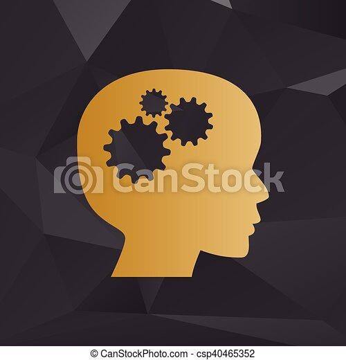 Thinking head sign. Golden style on background with polygons. - csp40465352