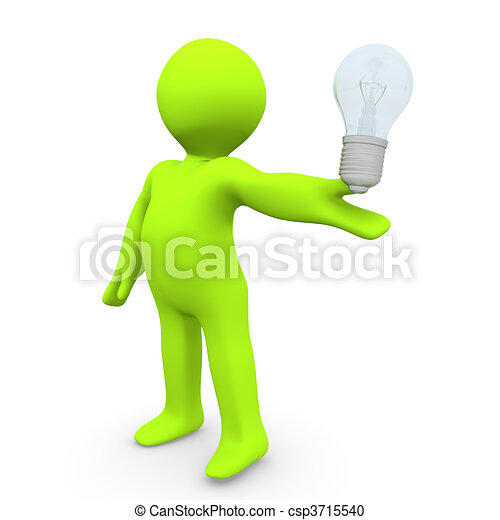 Thinking Lightbulb A Person With Stock Illustration