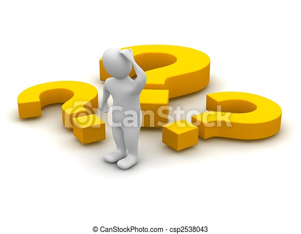 Thinking man and question marks. 3d rendered illustration. - csp2538043