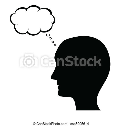 thinking man silhouette with thought bubble eps vector search clip rh canstockphoto com black man thinking clipart Student Thinking Clip Art