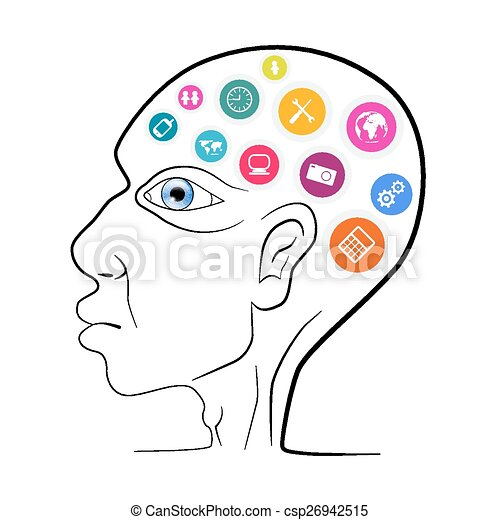 Thinking Man Head Outline Vector Illustration with Technology Icons - csp26942515