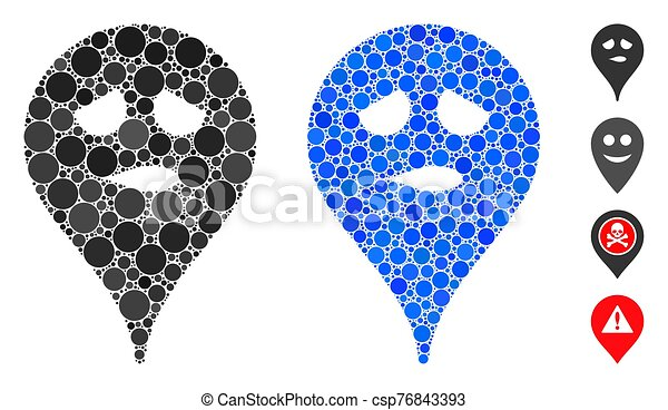 Thinking Smiley Map Marker Composition Icon of Circle Dots - csp76843393