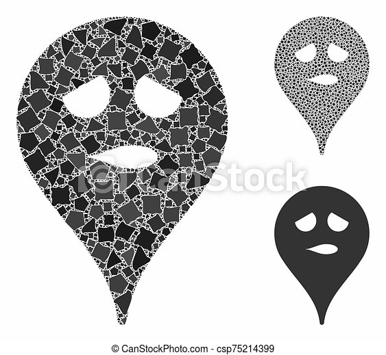 Thinking smiley map marker Mosaic Icon of Rugged Parts - csp75214399
