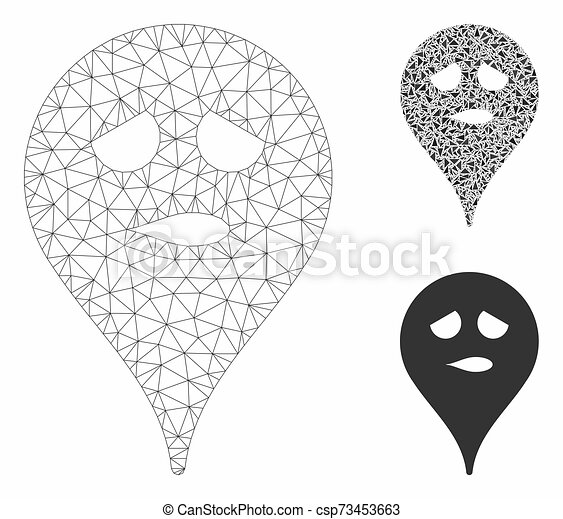 Thinking Smiley Map Marker Vector Mesh Carcass Model and Triangle Mosaic Icon - csp73453663