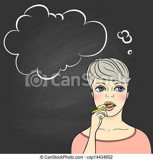Thinking woman holding pencil - csp14434652