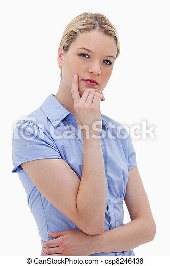 Thinking woman standing - csp8246438
