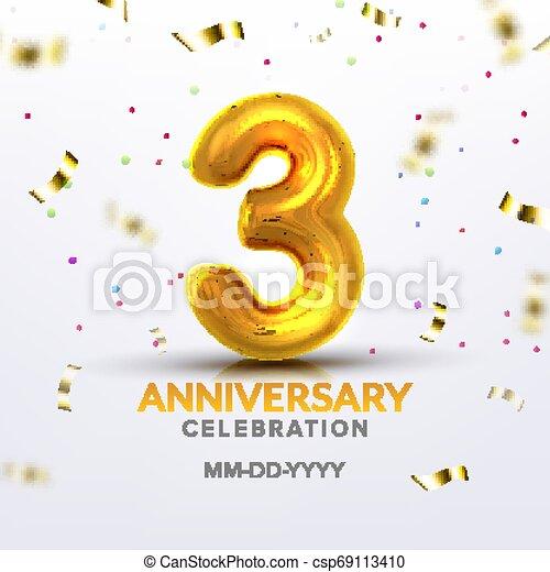 Third Anniversary Birth Celebration Number Vector - csp69113410