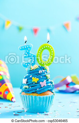 Thirtieth 30th Birthday Cupcake With Candle Card Mockup