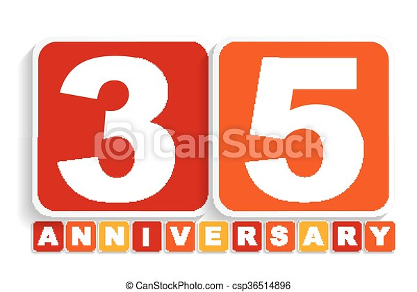Thirty Five 35 Years Anniversary Label Sign For Your Date Eps