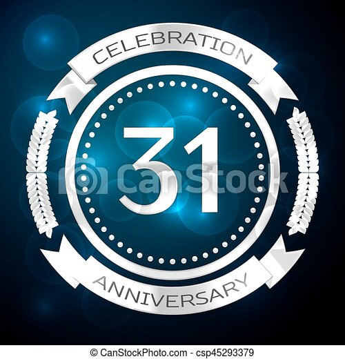 Thirty One Years Anniversary Celebration With Silver Ring Vectors