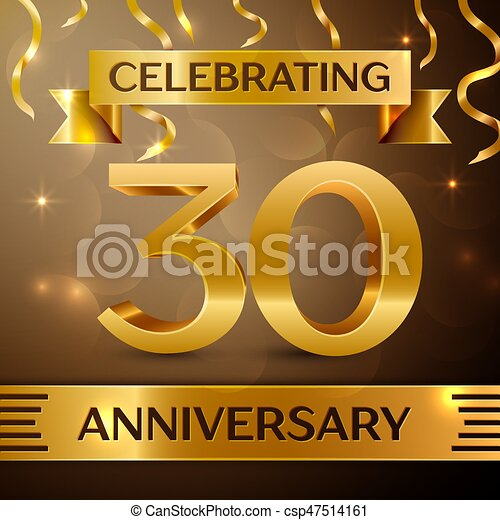 thirty years anniversary celebration design confetti and gold ribbon on golden background colorful vector