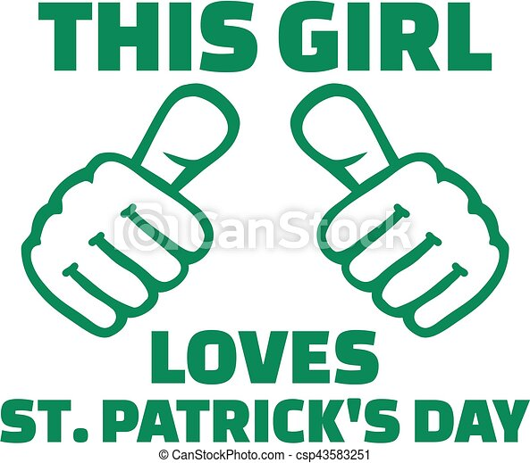 4e4ba1d4b This girl loves St. Patricks day - T-Shirt design - csp43583251