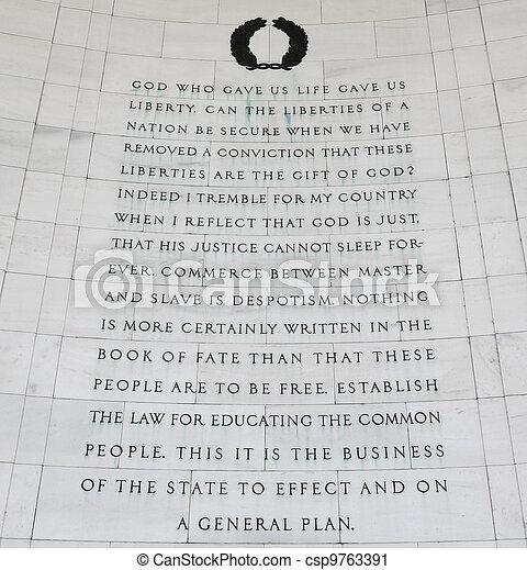 Thomas jefferson quotes. Inscription on the northeast quadrant of