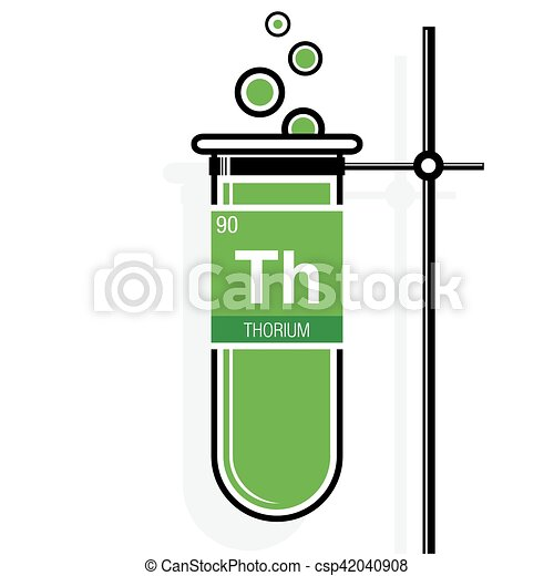 Thorium Symbol On Label In A Green Test Tube With Holder Element
